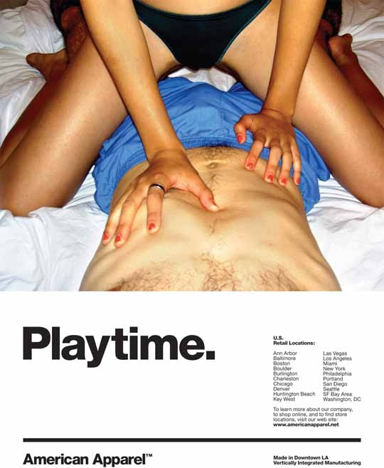 American Apparel annonsen playtime