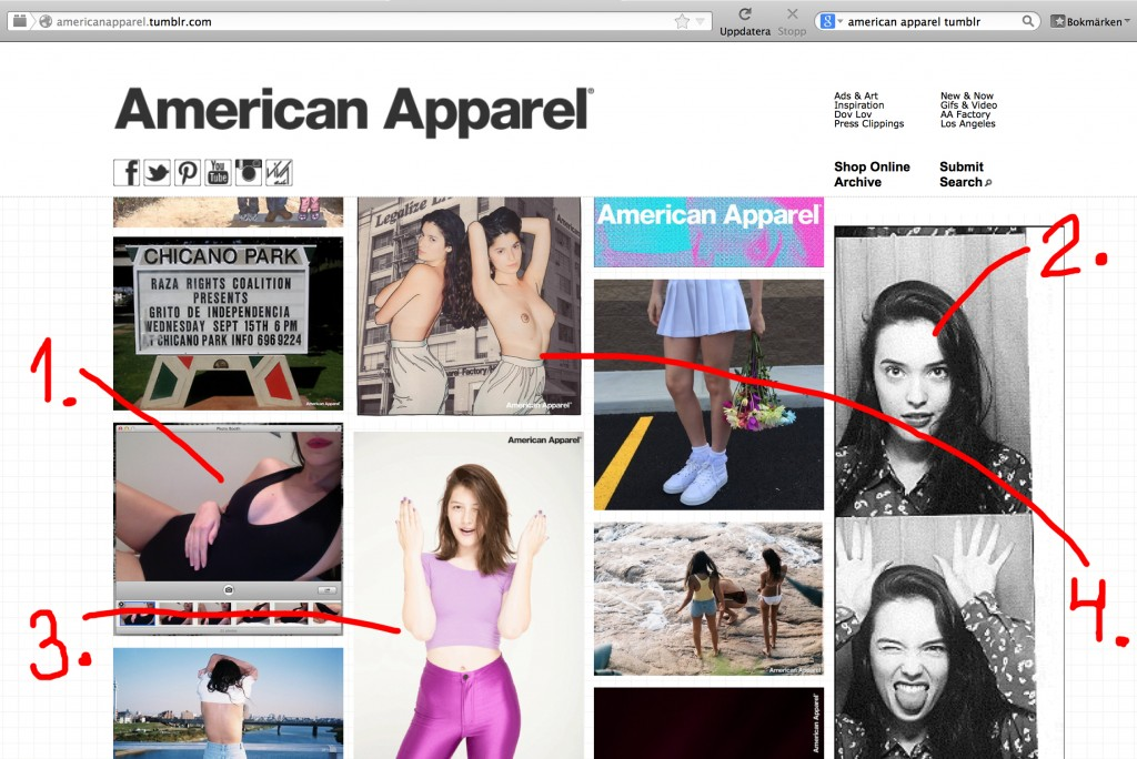 Dump av American Apparels tumblr med pilar