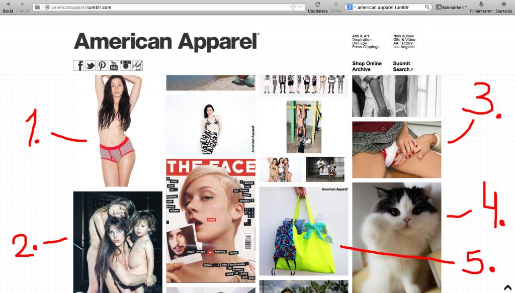 Dump av American Apparels tumblr med pilar 2